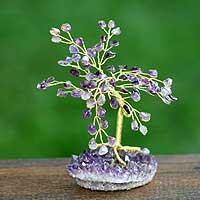 Gemstone tree, 'Amethyst Leaves' (small) - Brazilian Amethyst Gemstone Tree Sculpture (Small)