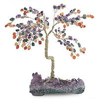Gemstone tree, 'Rainbow Spice' (large) - Amethyst and Agate Tree Sculpture (Large)