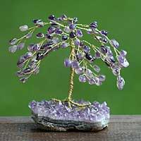 Gemstone tree, 'Amethyst Leaves' (medium) - Collectible Protection Gemstone Tree Sculpture (Medium)