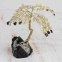 Gemstone tree, 'Onyx Leaves, Crystal Dew' - Gemstone tree