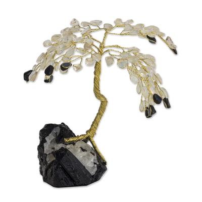 Gemstone tree, 'Onyx Leaves, Crystal Dew' - Gemstone tree