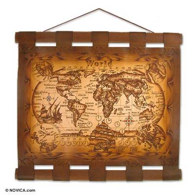 World Map Wall Hanging hand crafted rustic leather map wall hanging - modern world | novica
