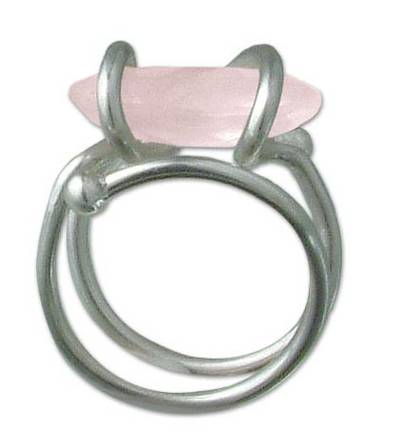 Rose quartz cocktail ring, 'My Darling' - Rose quartz cocktail ring