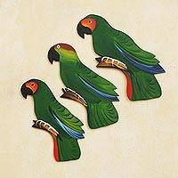 Wood wall adornments, 'Amazon Parrots' (set of 3) - Wood wall adornments (Set of 3)