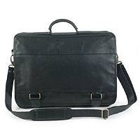 Leather laptop case, 'Universal' (single, black) - Leather laptop case