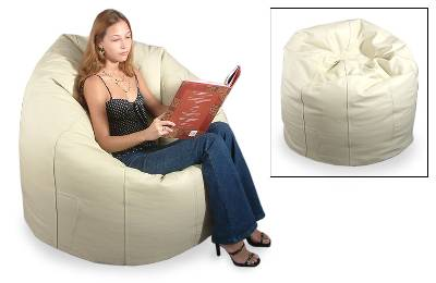 Leather beanbag chair cover, 'Ivory' (single) - Leather beanbag chair cover (Single)