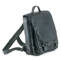 Leather laptop backpack, 'Vanguard' (black) - Leather laptop backpack