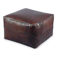 Leather ottoman cover, 'Atlantic' (dark brown) - Leather Ottoman Cover (Dark Brown) Artistic Footstool