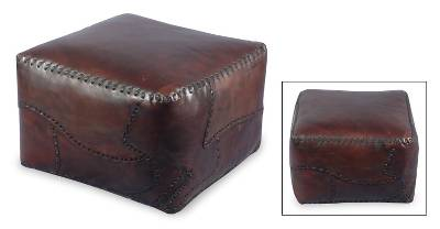 Terrific Leather Ottoman Cover Dark Brown Artistic Footstool Atlantic Dailytribune Chair Design For Home Dailytribuneorg