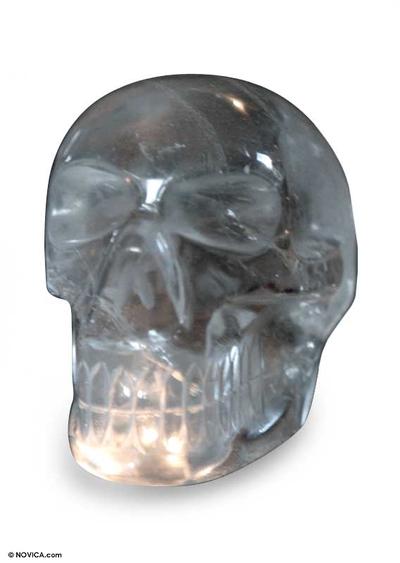 Quartz statuette, 'Crystal Skull' - Quartz statuette