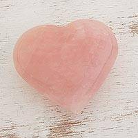 Rose quartz, 'Girl's Heart' - Handcrafted Heart Shaped Sculpture from Brazil