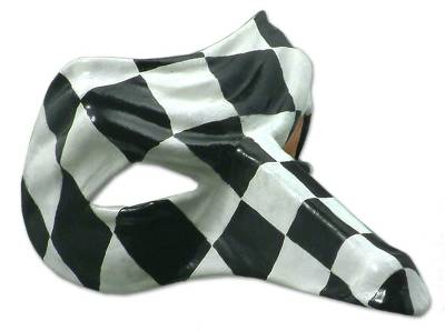 Leather mask, 'The Captain' (black and white) - Artisan Crafted Leather Carnaval Mask (Black and White)