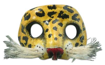 Leather mask, 'Spotted Jaguar' - Unique Leather Wild Cat Mask