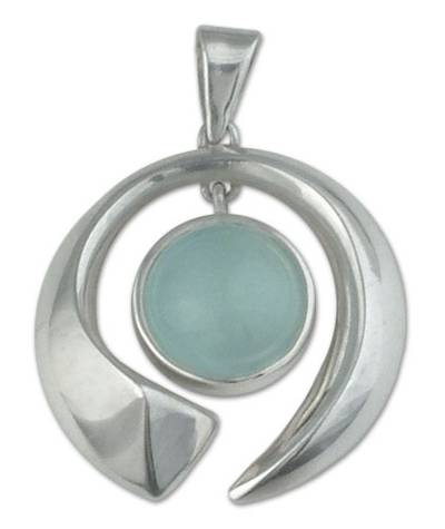 Aquamarine pendant, 'Sea Wave' - Fair Trade Modern Fine Silver Aquamarine Pendant