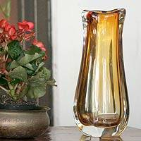 Handblown art glass vase, 'Amber Ruffles'