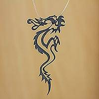Leather necklace, 'Dragon Fantasy' - Corded Sterling Dragon Fair Trade Necklace from Brazil