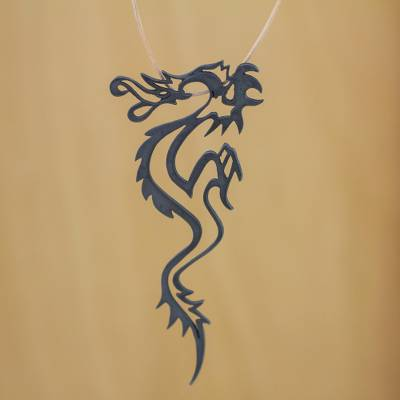 Leather necklace, 'Dragon Fantasy' - Leather necklace