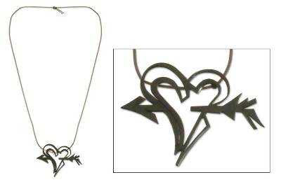 Leather necklace, 'Cupid's Heart' - Romantic Leather and Silver Necklace