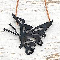Leather necklace, 'Butterfly Dreams' - Leather necklace