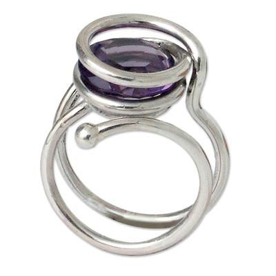 Amethyst cocktail ring, 'Twilight Transformation' - Amethyst cocktail ring