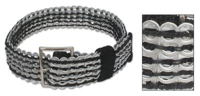 Soda pop-top belt, 'Wide Black Chain Mail' - Soda pop-top belt