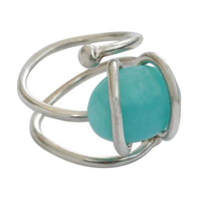 Modern Abstract Brazilian Silver and Amazonite Cocktail Ring