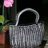 Soda pop-top handbag, 'Black Shimmery Chic' - Recycled Soda Poptop Handbag Handmade in Brazil