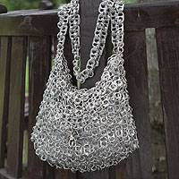 Soda pop-top shoulder bag, 'Long Shimmery Night' - Soda pop-top shoulder bag