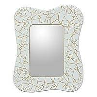 Mirror, 'White Waves' - Fair Trade Mosaic Ceramic Mirror
