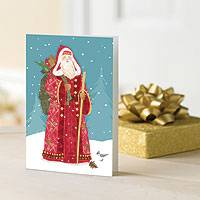 UNICEF holiday cards, 'European Santa' (set of 12) - UNICEF Holiday Cards Boxed Set