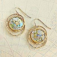 Gold plated glass dangle earrings, 'Roman Mirror' - Gold Plated Roman Glass Earrings