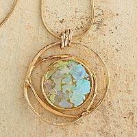 Gold plated glass pendant necklace, 'Roman Mirror' - Gold Plated Roman Glass Necklace