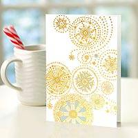 UNICEF holiday cards, 'Spiraling Snowflakes' (set of 12) - Spiraling Snowflakes UNICEF Cards (set of 12)