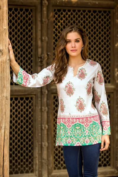 Beaded cotton tunic, 'Beautiful Jaipur' - Cotton Block Print Tunic with Beadwork and Sequins