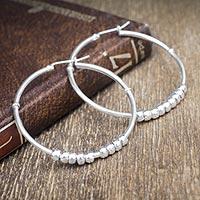 Sterling silver hoop earrings, 'Spellbound'