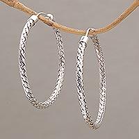 Sterling silver hoop earrings, 'Celuk Circles' (1.7 inch) - Woven Silver Endless Hoop Earrings (1.7 Inch)