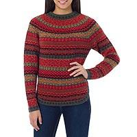 100% alpaca sweater, 'Scarlet Medley'