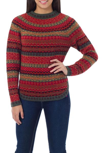 100% alpaca sweater, 'Scarlet Medley' - Geometric Alpaca Wool Art Knit Pullover Sweater