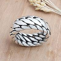 Men's sterling silver ring, 'Sanca Kembang Python'