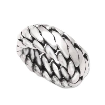 Men's sterling silver ring, 'Sanca Kembang Python' - Men's Sterling Silver Band Ring
