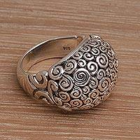 Sterling silver dome ring, 'Cloud Bubble' - Artisan Jewelry Sterling Silver Domed Ring
