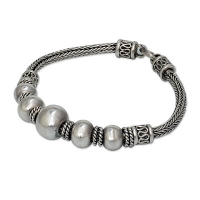 Sterling silver braided bracelet, 'Thai Moons' - Artisan Jewelry Sterling Silver Chain Bracelet
