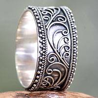 Sterling silver band ring, 'Classic Passion'