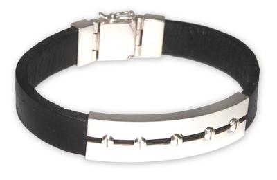 Men's leather bracelet, 'Brave Aymara' - Men's Modern Leather Wristband Bracelet
