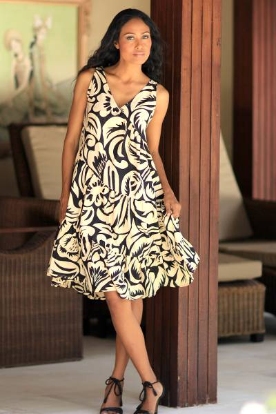 Batik cotton dress, 'Balinese Shadow' - Batik Cotton Knee Length Dress with Diagonal Ruffles
