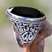 Men's gold accent onyx ring, 'Black Star' - Men's Onyx Silver Ring with 18k Gold Accents
