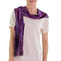 Cotton blend scarf, 'Orchid Dreamer' - Cotton Blend Scarf in Purple Shades