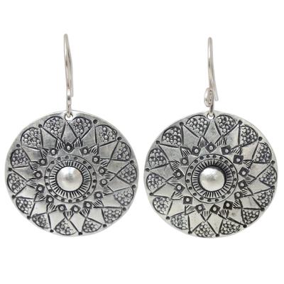 Sterling silver dangle earrings, 'Lampang Moon' - Handmade Sterling Silver Dangle Earrings
