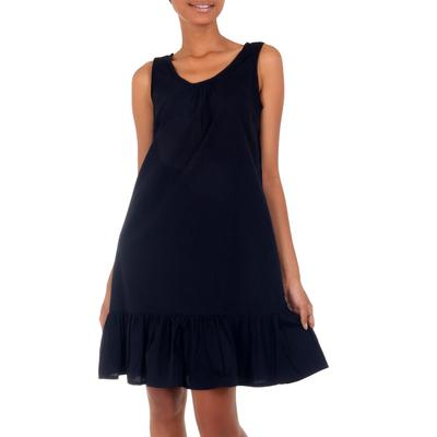 Sleeveless Short Black Cotton Dress from Bali