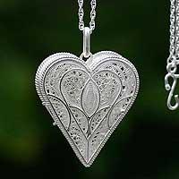 Silver locket necklace, 'Loving Heart'